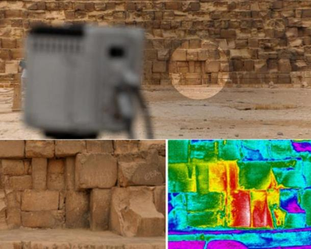 A thermal anomaly detected on the eastern side of the Great Pyramid, also known as Khufu or Cheops, at the ground level.