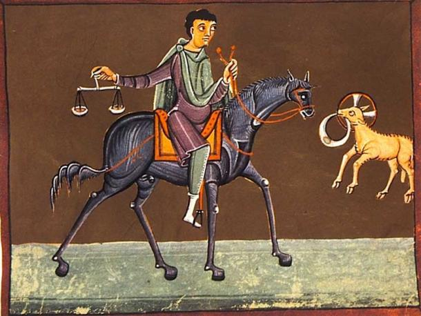 The third horseman, the Black Rider, of the Four Horsemen of the Apocalypse. (Batchheizer / Public Domain)