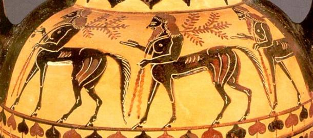 On a vase from about 500 BC, three Centaurs walk in line, two of them carrying a branch signifying they belong to a different branch of humanity - the line of Seth as opposed to the supposedly culturally and intellectually superior line of Cain.