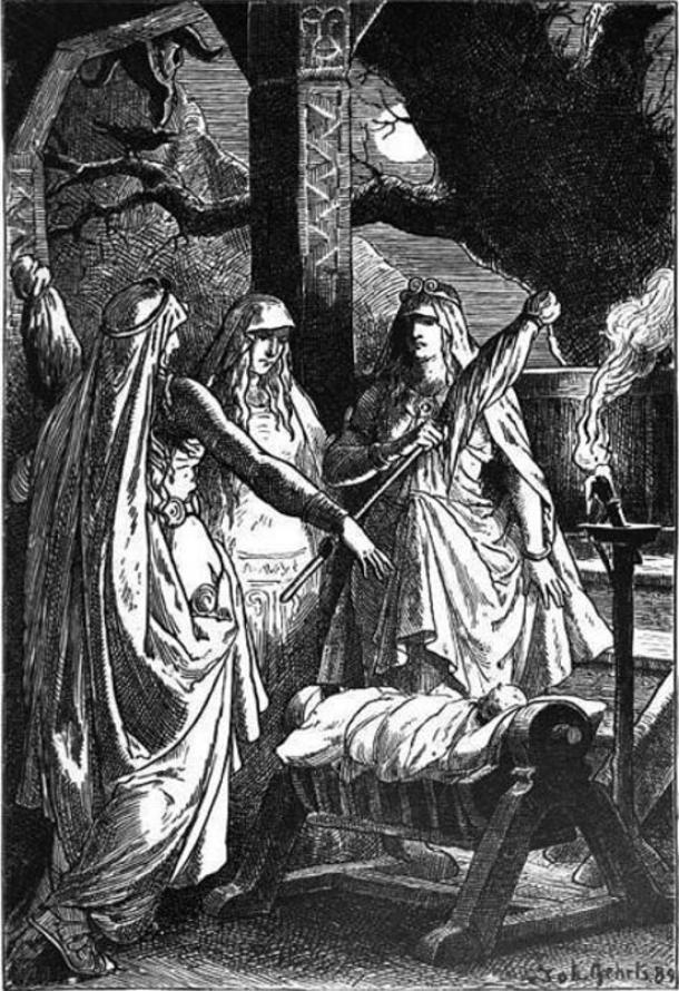 Illustration, the three Norns surround a child, deciding his fate. (1889)