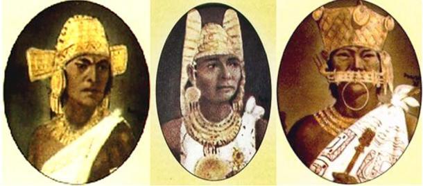 Representations of three Zipas: Saguanmachica (Public Domain), Nemequene (Public Domain), and Tisqueusa (Public Domain)