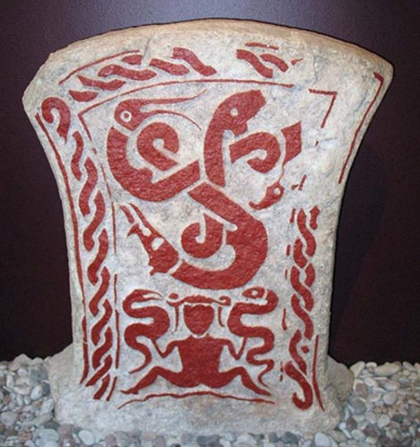 Vitastjerna's dream with the three entwined snakes symbolizing Graip, Gute, and Gunfjaun, with her at the bottom of a picture stone from Smiss in När, Gotland.