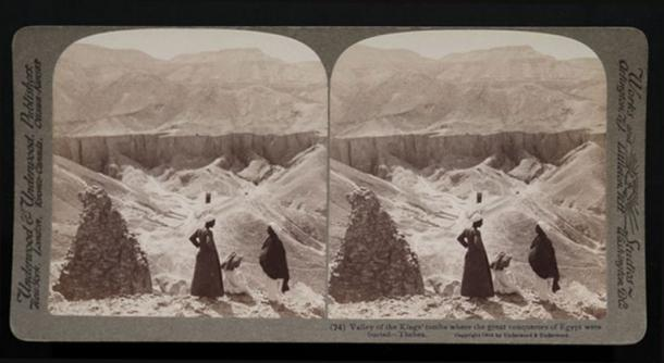 A stereograph shows three men outside the tombs in the Valley of the Kings, 1904.