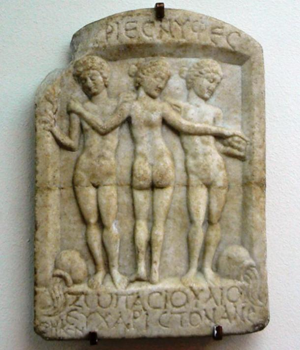 A relief of three nymphs from Thermopolis from the 2nd century AD