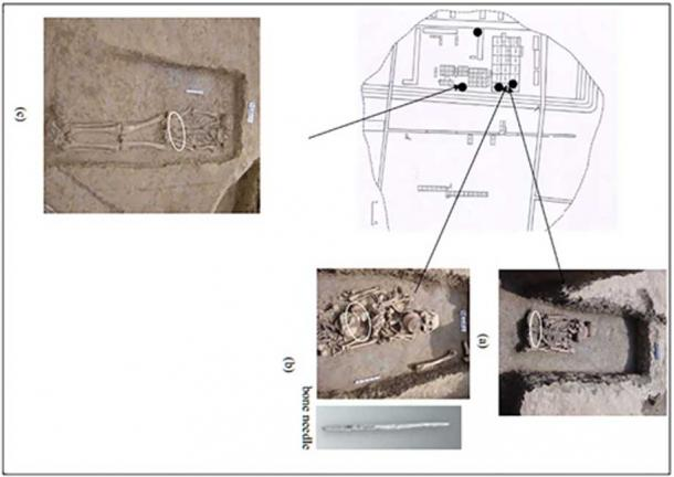 The three tombs from which researchers took soil to find silk proteins.