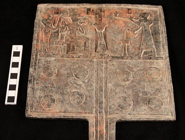 A tin-bronze offering table reportedly indicates a royal burial under a pyramid in Sudan.