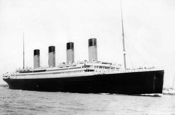RMS Titanic departing Southampton on April 10, 1912