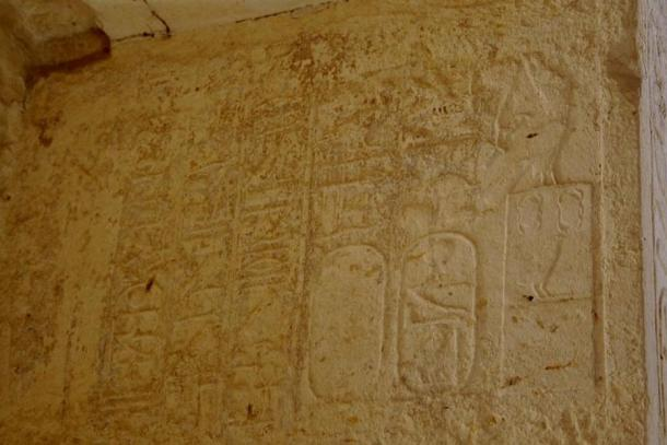 Partial titulary of pharaoh Amenemhat IV (end 12th Dynasty) on a relief from the temple of Medinet Maadi, Faiyum. Representational image.