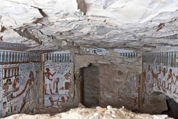 The tomb was vandalized in the ancient past for unknown reasons, but it is suspected that scenes or text representing deity Amun were removed during the reign of Pharaoh Akhenaten.