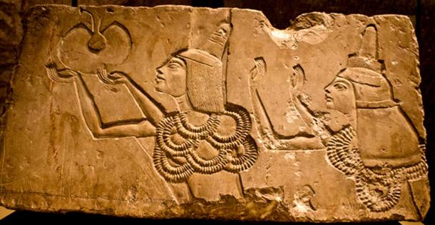 Originally from his tomb in Tell el-Amarna, this limestone relief depicts Vizier Aye and his wife Tey receiving the Gold of Honor from Akhenaten, at the Window of Appearances. It was extremely rare for a woman to be bestowed with this honor. King Tut exhibit, Pacific Science Center, Seattle. (Photo: Dmitry Denisenkov/CC BY-SA 2.0)