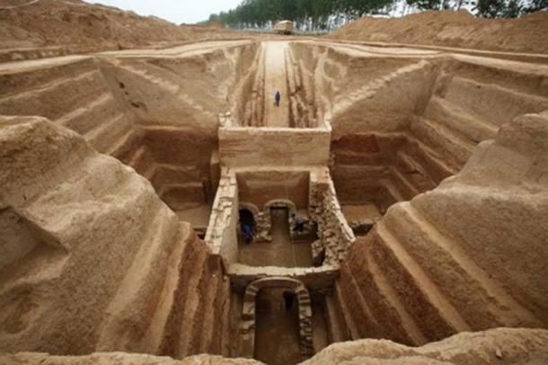 The tomb of Cao Cao, which has a similar layout to the one recently found.