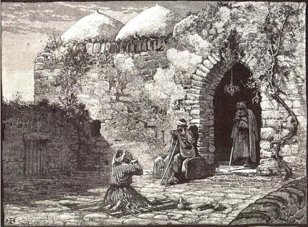 Illustration depicting the tomb of Jonas at ancient Gath (Wikimedia Commons)
