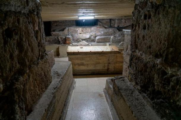 Inside the tomb of Lazarus.
