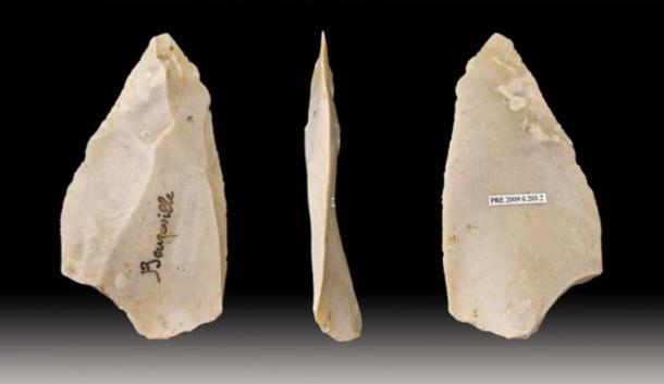 "Levallois point blademaking technique, a distinctive type of tool crafting or ""knapping"" developed by precursors to modern humans during the Palaeolithic."