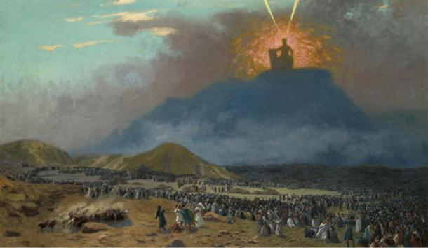 According to the Bible, God appeared to the Israelites on top of Mount Sinai. Painting by the nineteenth century-artist Jean-Léon Gérôme.