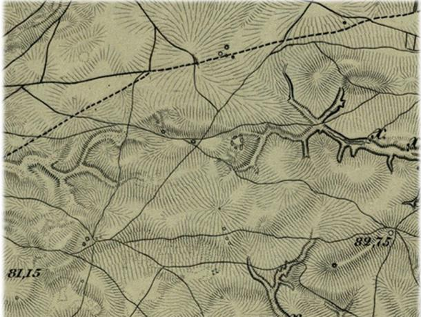 Schubert's 1861 topographic map, which shows more mounds than what can be seen today.