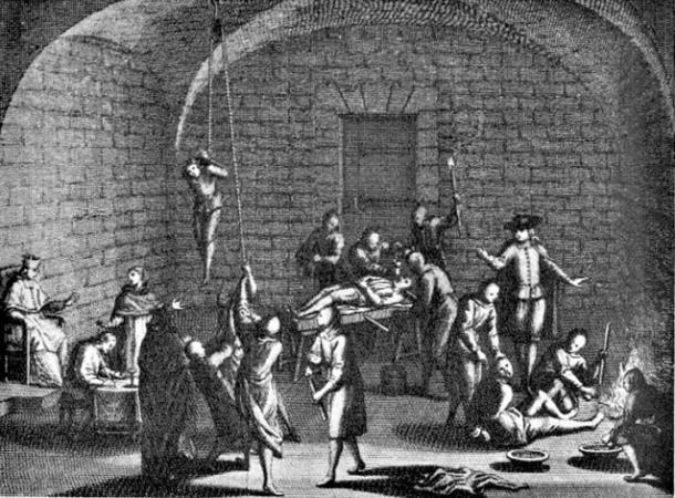Fictitious image of a supposed inquisitorial torture chamber. XVIII century engraving by Bernard Picart. Bernard Picart's engravings were part of the black legend built around the Spanish Inquisition