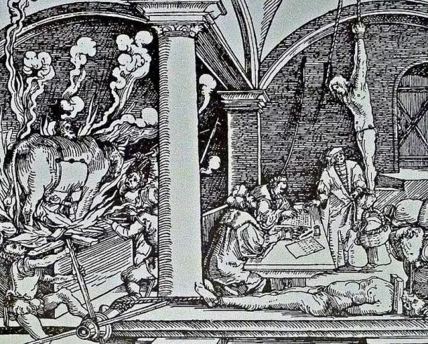 Engraving, probably the sixteenth century, showing various methods of torture in a castle of current Slovakia. Three torture methods of the Spanish Inquisition are shown