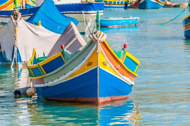 Two Eyes of Horus can be seen at the front of this traditional Luzzu boat at Marsaxlokk harbor in Malta