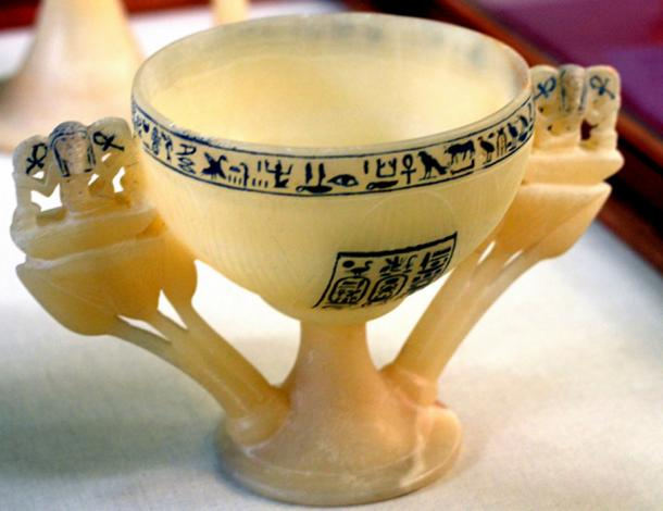 "This translucent alabaster Lotus chalice, called the ""Wishing Cup"" by Howard Carter, was found on the threshold of the Antechamber in Tutankhamun's tomb in 1922. Egyptian Museum, Cairo."