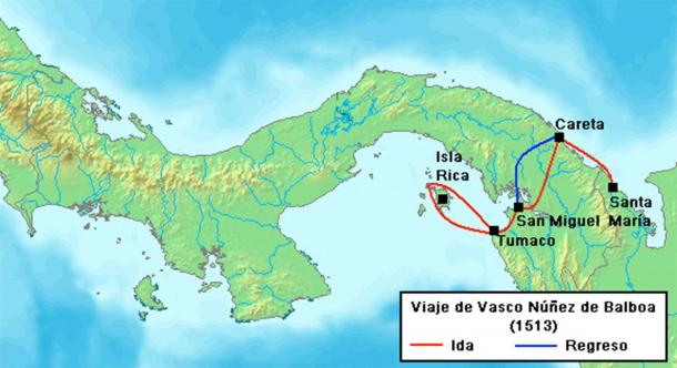 Balboa's travel route to the South Sea, 1513. (RokerHRO / CC BY-SA 3.0)