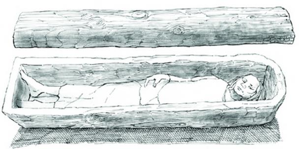 A reconstruction of tree-trunk coffin with lid from an early Anglo-Saxon grave at Mucking Cemetery II, Essex.