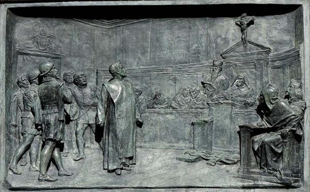 The trial of Giordano Bruno by the Roman Inquisition. Bronze relief by Ettore Ferrari, Campo de' Fiori, Rome