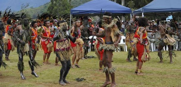 A tribal dance with members of the Jiwaka Tribe