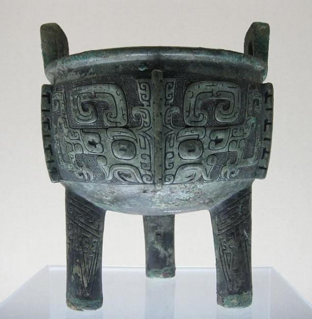 A tripod cauldron or ding from the late Shang Dynasty, China.