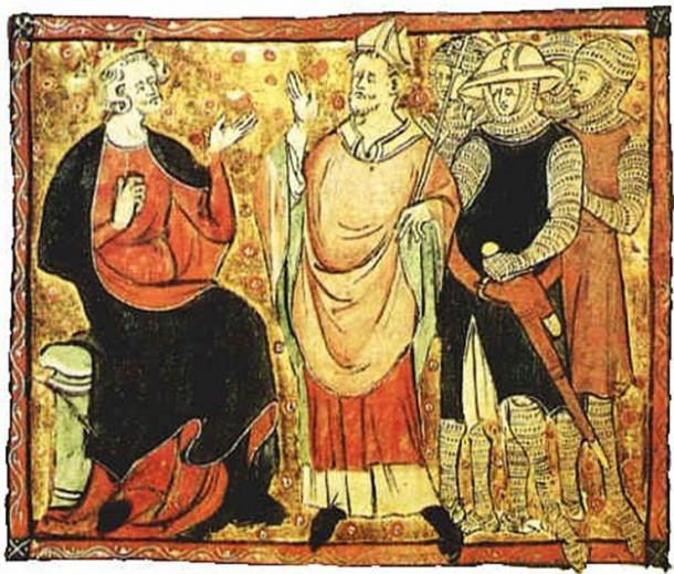 """""""Who will rid me of this troublesome priest?"""" King Henry II and Thomas Becket. (Public domain)"""