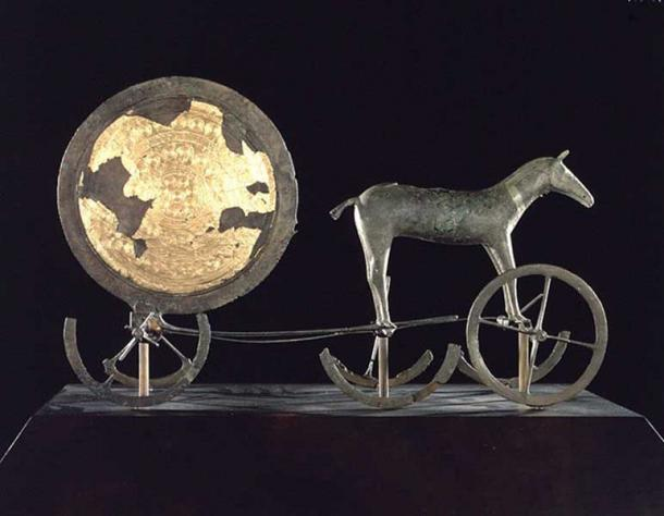 The Trundholm sun chariot - a Nordic Bronze Age artifact discovered in Denmark. It shows a sun chariot, a bronze statue of a horse, and a large bronze disk.