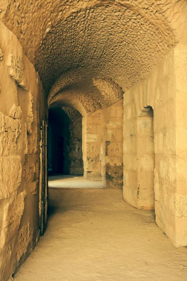 Example of a tunnel through which gladiators entered a colosseum. This one is from the largest colosseum in North Africa.