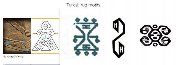 Turkish rug motifs contain 'H' and 'I' Symbols
