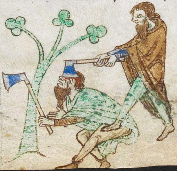 An illustration of two axe-wielding Irishmen from Royal MS 13 B VIII (Topographia Hibernica).