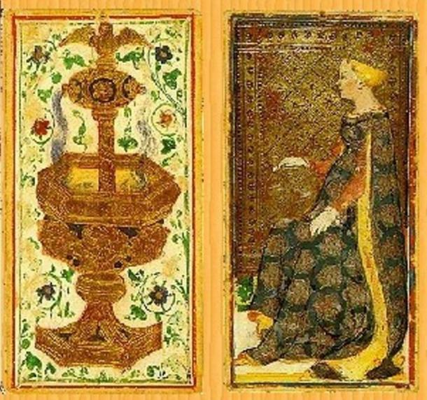 Reproduction of two cards from the Pierpont-Morgan Bergamo Visconti-Sforza Deck, c. 1420 AD.