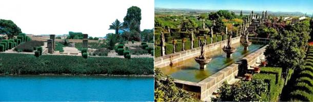 The two gardens, Hamilcar's Gardens in ancient Carthage (left) and Jardim do Paco (right)