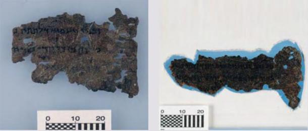Two of the Museum of the Bible Dead Sea Scroll fragments showing a possible line of manmade holes on the right. (Art Fraud Insights)