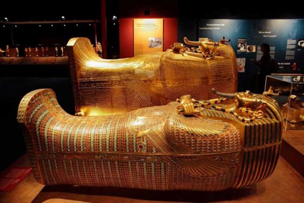 Reproductions of the two outer coffins.