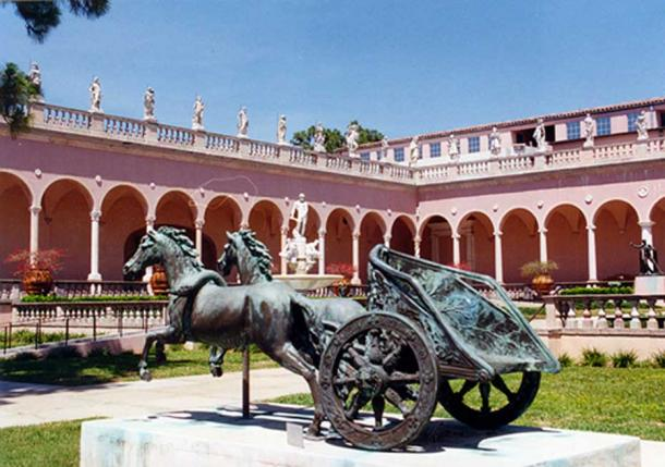A two-wheeled, two-horse chariot reproduction at the Ringling Museum in Sarasota, Florida, United States, is similar to a type of ancient Roman chariot called a biga.
