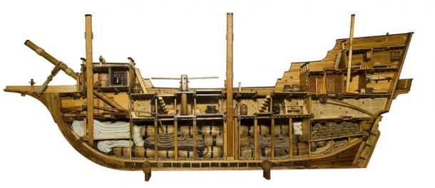 Model of a typical merchantman of the 16th and 17th centuries .