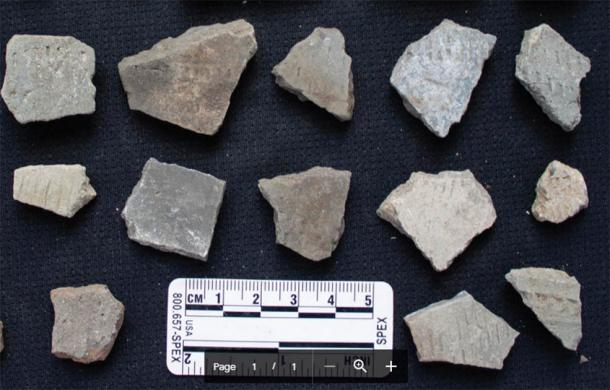 A typical collection of ceramic fragments found during pedestrian survey from areas around cluster 27. (Image: By the authors /Antiquity Publications Ltd)