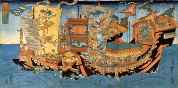 A 19th century ukiyo-e by Kuniyoshi depicting the ships of the great sea expedition sent around 219 BC by the first Chinese Emperor, Qin Shi Huang, to find the legendary home of the immortals, the Mount Penglai, and retrieve the elixir of immortality.