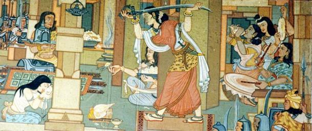 First unambiguous painting on Maharani Durgavati, shown gearing-up for the Battle of Narrai. (Public Domain)