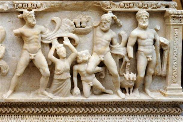 This undated photo provided by the Ministere public genevois shows a 2nd-century BC coffin in sculpted marble depicting the 12 labors of Hercules