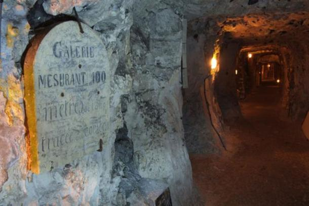 In the underground city of Naours, France.