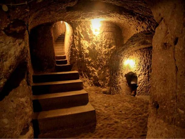 Inside the underground city of Nushabad, Iran.