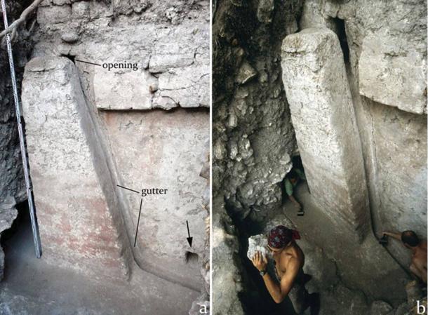 Esta estructura trapezoidal que era parte del sistema de drenaje subterráneo de la Acrópolis puede haber simbolizado una montaña sagrada para el pueblo de Nakum.