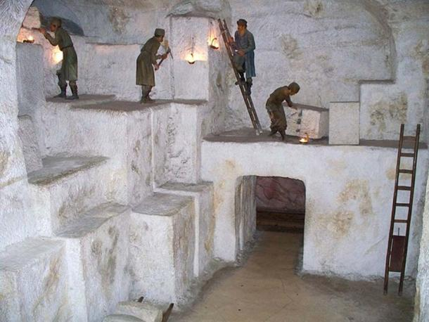 Diorama of an underground salt mine in the in the Deutsches Museum in Munich.