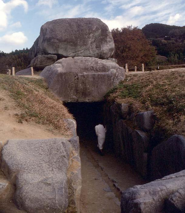 An underground tunnel tomb with its earthen covering removed in Nara Prefecture, Japan