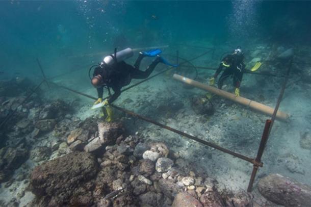 Some of the underwater excavations of the Esmeralda.